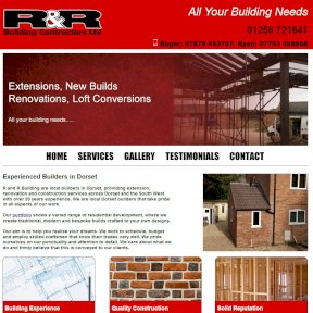 R and R Building Contractors website maintained by The Web Booth